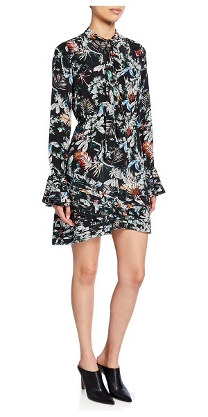 DEREK LAM 10 CROSBY Printed Tie-Neck Long-Sleeve Dress in black