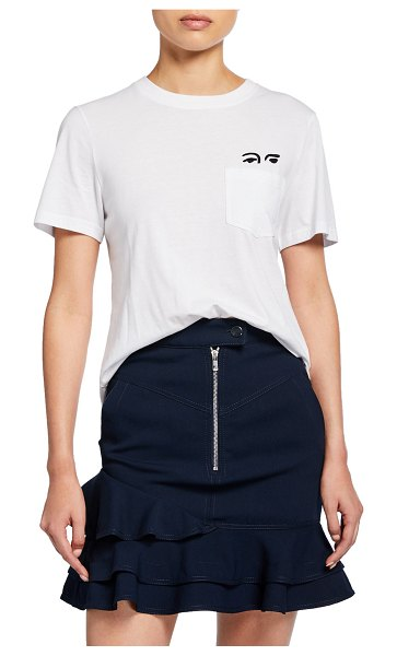 DEREK LAM 10 CROSBY Short-Sleeve Crewneck Tee with Eye Embroidery in white