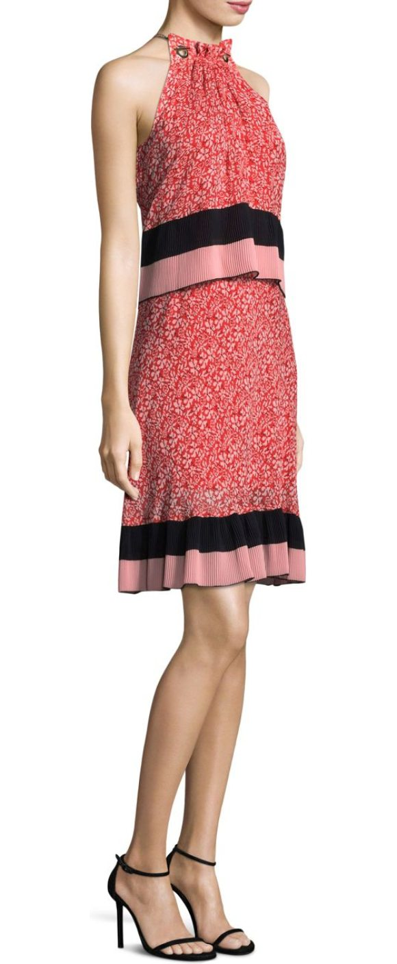 Derek Lam 10 Crosby Silk Tiered Halter Dress In Poppy Fl Print With
