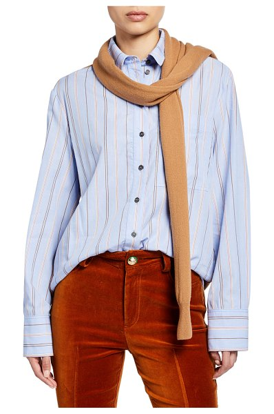 DEREK LAM 10 CROSBY Striped Long-Sleeve Button-Down Shirt with Knit Combo in blue