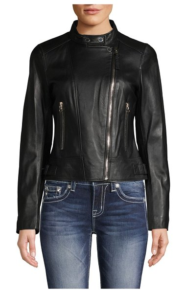 DEREK LAM 10 CROSBY Tab-Collar Leather Jacket in black