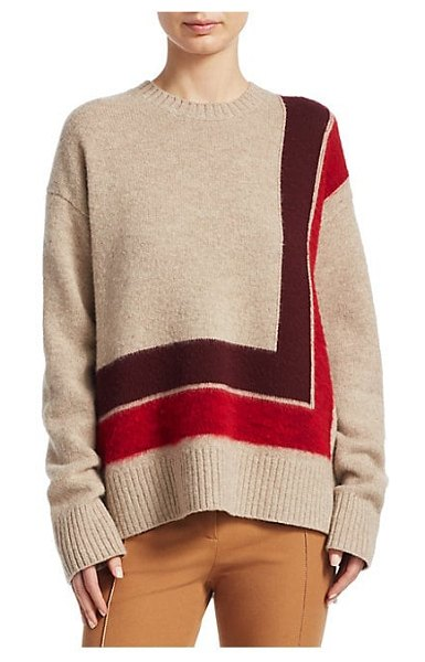 b3585a4f94 DEREK LAM 10 CROSBY wool high-low blanket sweater in red multi - From the