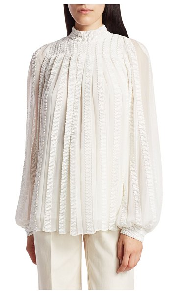 Derek Lam Embroidered Trapeze Puff-Sleeve Mockneck Blouse in ivory