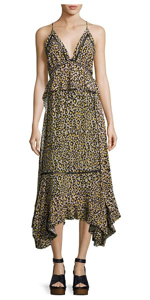 DEREK LAM Leopard-Print Lace-Inset Sleeveless Silk Midi Dress - Derek Lam camisole-style dress in leopard print crêpe de...