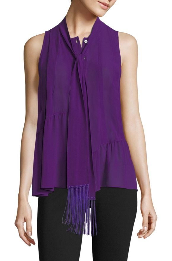 Derek Lam silk tassel blouse in amethyst - Luxe silk scarf blouse with tassel accents. Crewneck...