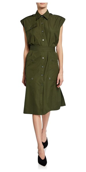 Derek Lam Sleeveless Belted Button-Front Utility Dress in olive