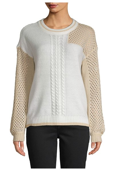 Design History Colorblock Cable-Knit Sweater in pearl combo
