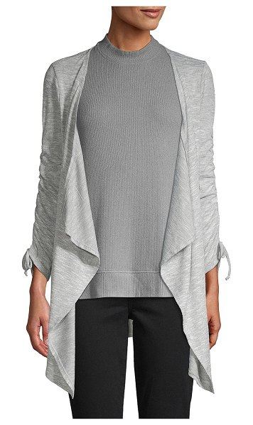 Design History Ruched-Sleeve Open Cardigan in fog heather