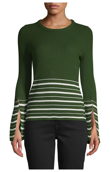 Design History Striped Ribbed Sweater in hunter green