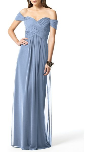 Dessy Collection off the shoulder chiffon a-line gown in cloudy