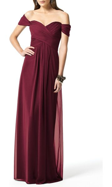 Dessy Collection off the shoulder chiffon a-line gown in burgundy