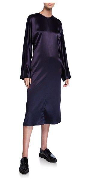 Deveaux New York Charmeuse Long-Sleeve Dress in navy