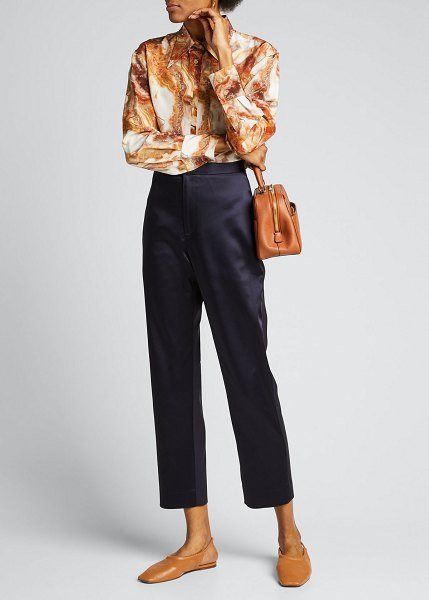 Deveaux New York Satin Slim-Leg Cropped Pants in navy