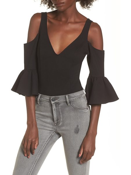 devlin sage cold shoulder thong bodysuit in black - Flared at the sleeves and fitted everywhere else, this...