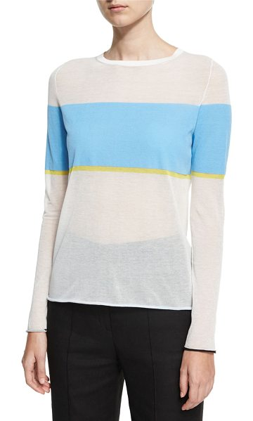 Diane von Furstenberg Long-Sleeve Crew-Neck-Pullover Sweater in white - Diane von Furstenberg striped gauze sweater. Crew...