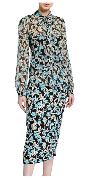 Diane von Furstenberg Rosalee Printed Tie-Neck Blouse in black pattern