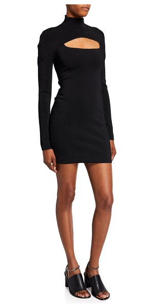 Dion Lee Jersey High-Neck Cutout Mini Dress in black