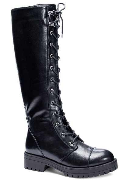 DIRTY LAUNDRY vandal knee high boot in black faux leather