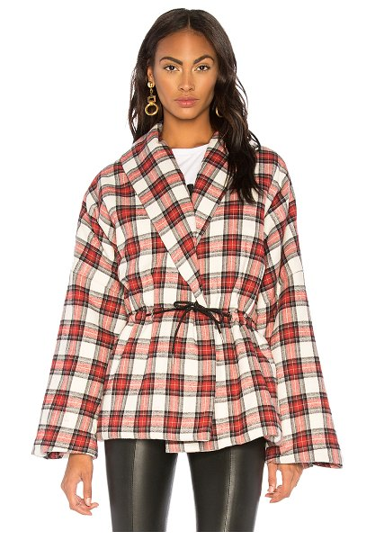 Divine Heritage Plaid Puffer Kimono in red - Cotton blend. Dry clean only. Front snap button closure....