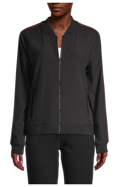 DKNY Sport Perforated Bomber Jacket in black