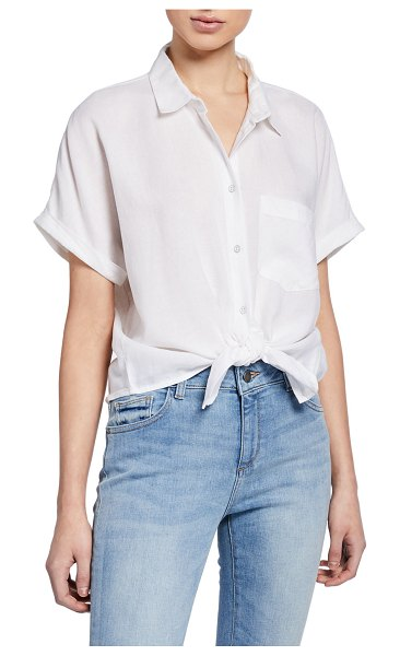 DL 1961 Christy Button-Down Short-Sleeve Tie-Front Top in white