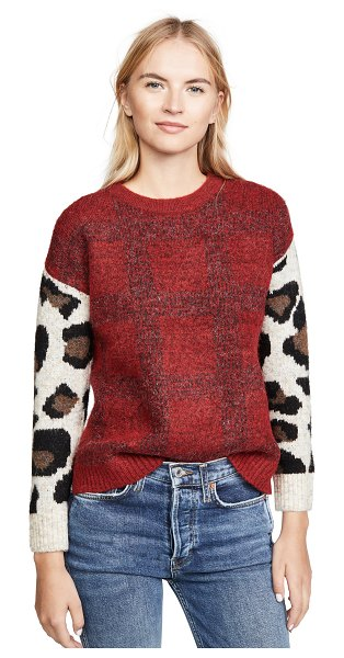 DNA plaid leopard sweater in red