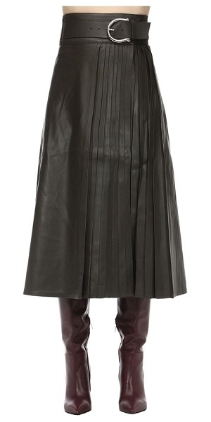 Dodo Bar Or Belted leather midi skirt w/ pleats in army green