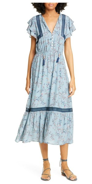 Dolan elsie lace trim flutter midi dress in steel blue flowering vine
