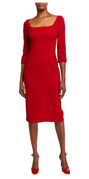 Dolce & Gabbana 3/4-Sleeve Crepe Open-Neck Dress in red