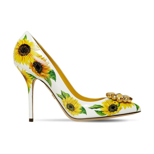 Dolce & Gabbana 90mm embellished sunflower leather pumps in white,yellow