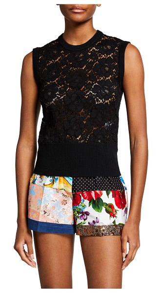 Dolce & Gabbana Allover Lace Tank Top in black