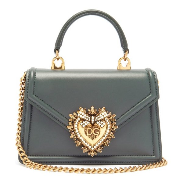 Dolce & Gabbana devotion leather cross-body bag in dark green