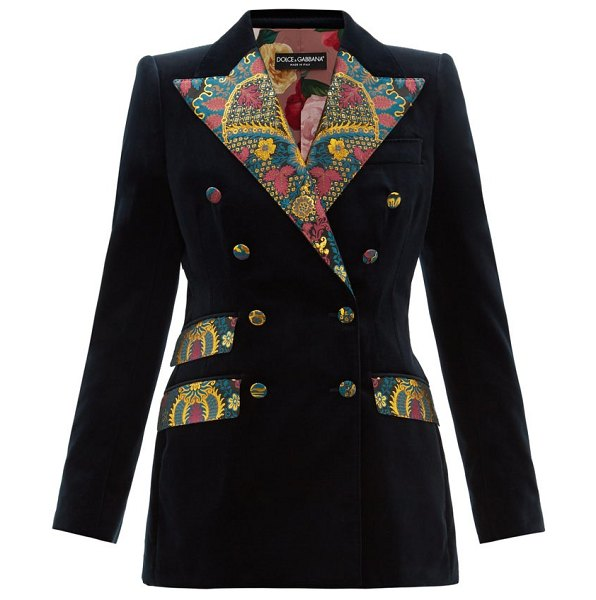 Dolce & Gabbana double breasted floral brocade and velvet blazer in dark blue