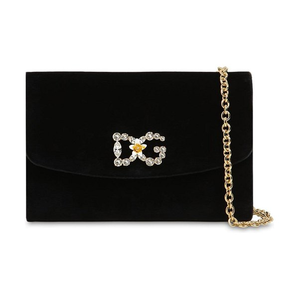 Dolce & Gabbana Embellished velvet clutch in black