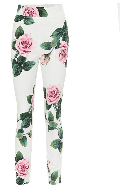 Dolce & Gabbana floral leggings in white