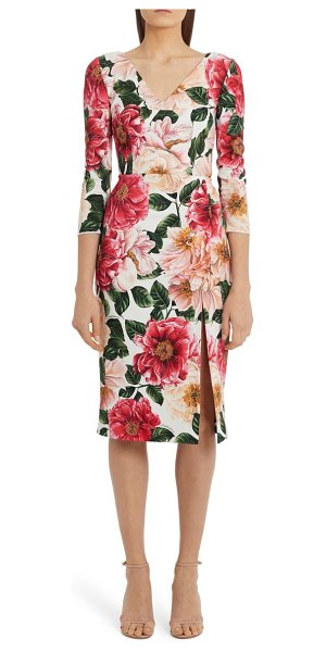 Dolce & Gabbana floral print cady sheath dress in maroon