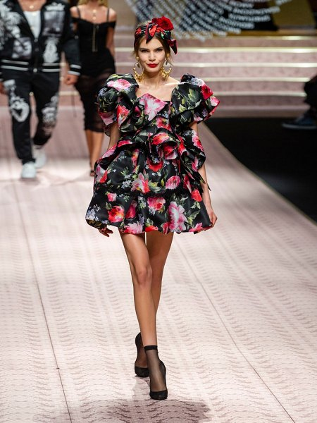 Dolce & Gabbana floral print ruffled silk blend mini dress in black multi