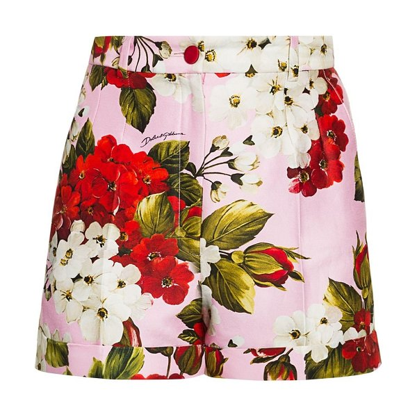 Dolce & Gabbana floral shorts in light pink red