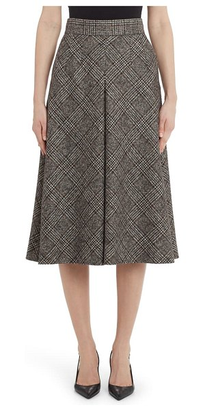Dolce & Gabbana inverted pleat plaid wool blend a-line skirt in check
