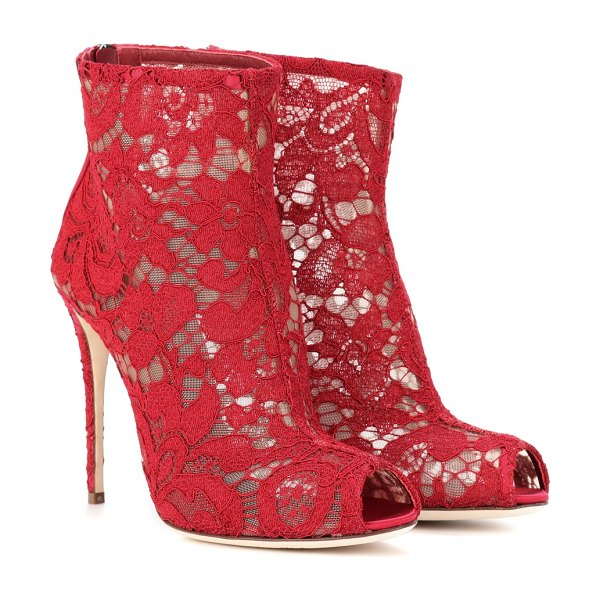 Dolce & Gabbana lace open-toe ankle boots in red