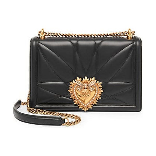 Dolce & Gabbana large devotion leather crossbody bag in black,optical white,red - Quilted crossbody bag in a smooth matte leather with...