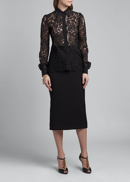 Dolce & Gabbana Long-Sleeve Lace Button-Front Collared Shirt in black