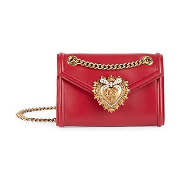 Dolce & Gabbana mini devotion leather crossbody bag in red,white,black - Petite crossbody bag in a smooth matte leather with...