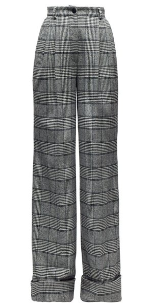 Dolce & Gabbana high-rise wide-leg glen-checked twill trousers in grey multi