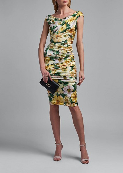Dolce & Gabbana Ruched Floral Print Silk Dress in yellow pattern