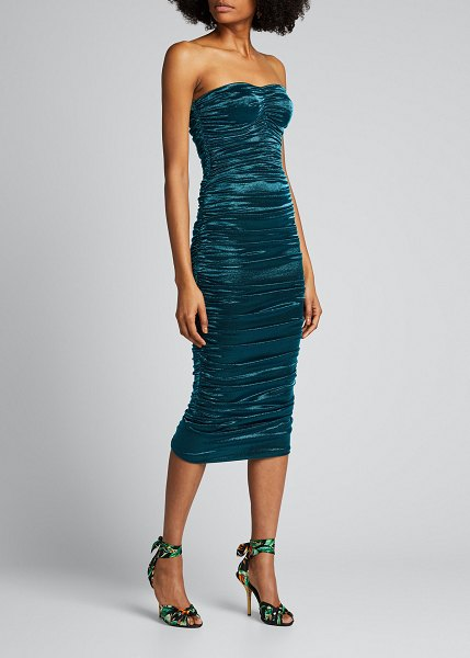 Dolce & Gabbana Ruched Lame Strapless Dress in blue