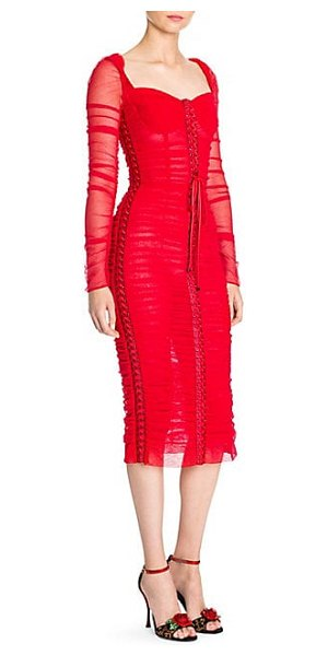 Dolce & Gabbana ruched tulle long sleeve lace-up dress in red - A vivacious dress distinctive of the designers' style...