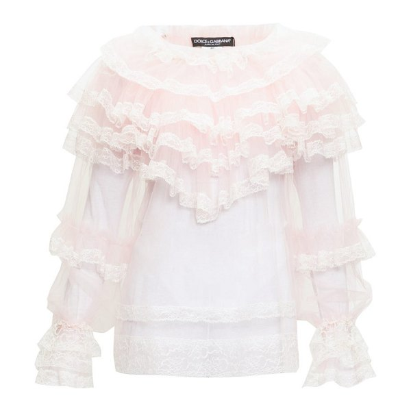 Dolce & Gabbana ruffled chantilly-lace and tulle blouse in pink multi