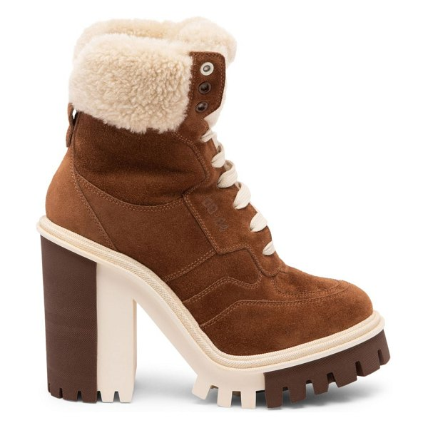 Dolce & Gabbana lug-sole shearling-lined suede hiking boots in bruciatonaturale