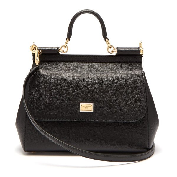 Dolce & Gabbana sicily medium grained-leather bag in black